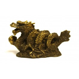 Brass statuette of the DRAGON WITH PEARL small