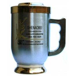 Cup with a magnet with gold-plated cover